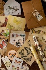 DIY Supplies Vintage Style Planner Diary Multiple Materials - flower plant - butterfly story