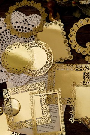 Photo1: Gilded DIY hollow-carved Lace Kraft Paper Material - romantic story - frame window lace