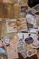 Journal Planner Paper Label Sticker Material Box - vintage memory - time travel 时光之旅