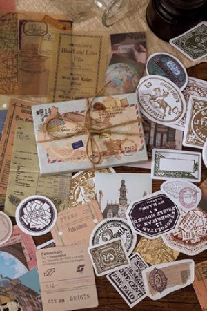 Photo1: Journal Planner Paper Label Sticker Material Box - vintage memory - time travel 时光之旅