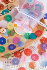 Kawaii DIY Planner Sticker Sack - rainbow collector - colorful buttons