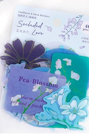 Photo1: Kawaii DIY Planner Sticker Sack - floral dream - secluded love
