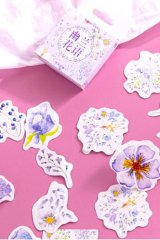 Bujo Journal Planner Paper Label Sticker Box - blue flower language
