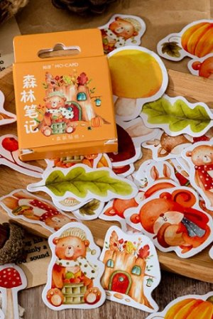 Photo1: Kawaii Planner Paper Label Sticker Box - forest notes