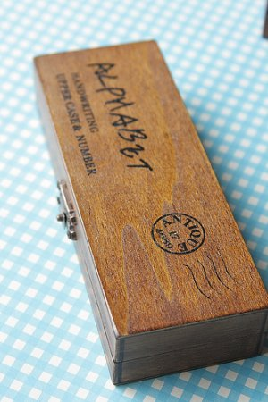 Photo2: Antique Style Wood Stamps Set - Hand Drawing Upper Alphabet