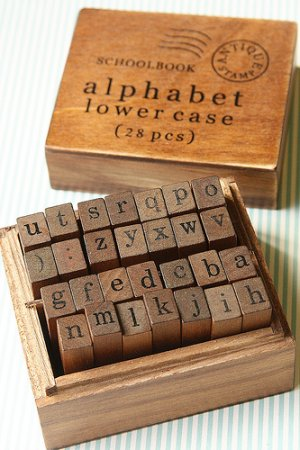 Photo2: Antique Style Wood Stamps Set - Alphabet - Lower Letters