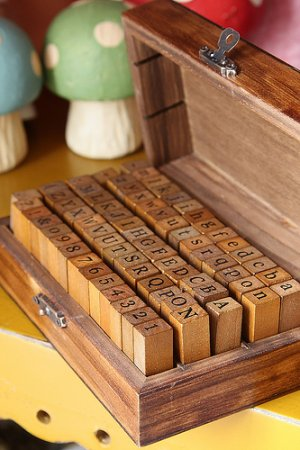 Photo1: Antique Style Wood Stamps Set - Lower and Upper Alphabet and Number