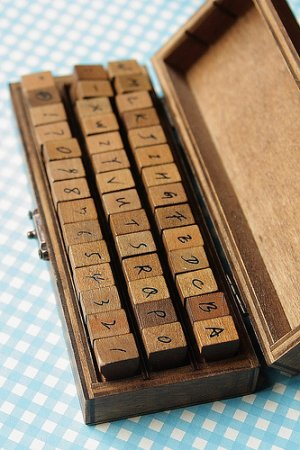 Photo1: Antique Style Wood Stamps Set - Hand Drawing Upper Alphabet