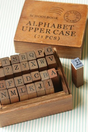 Photo1: Antique Style Wood Stamps Set - Alphabet - Uppercase Letters