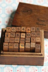 Antique Style Wood Stamps Set - Number and Diary Marks