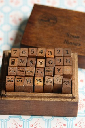 Photo1: Antique Style Wood Stamps Set - Number and Diary Marks