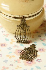 SALE-Antique Style Bronze Charms - Retro Bird Cage
