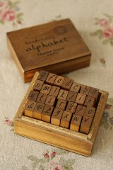 Antique Style Wood Stamps Set - Alphabet - Lowercase Letters