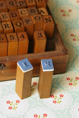 Photo3: Antique Style Wood Stamps Set - Lower and Upper Alphabet and Number