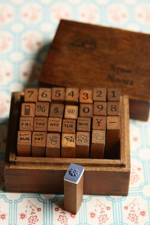 Photo3: Antique Style Wood Stamps Set - Number and Diary Marks