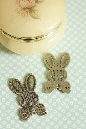 Photo1: SALE-Antique Style Bronze Charms - Large Rabbit