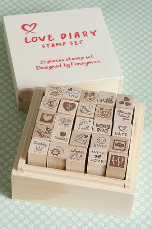 Photo1: Kawaii Wooden Stamps Set - Love Diary