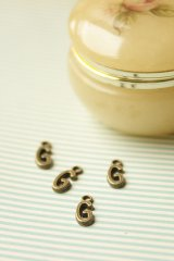 SALE - Antique Style Bronze Charms - Alphabet G