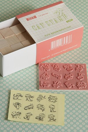 Photo1: DIY Kawaii Wooden Stamps Set - Cat Pink
