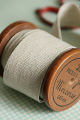 Linen Cotton Blended Wide Plain Ribbon - ( 4cm x 1 yard)
