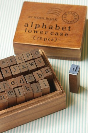 Photo1: Antique Style Wood Stamps Set - Alphabet - Lower Letters