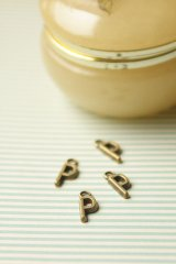 SALE - Antique Style Bronze Charms - Alphabet P