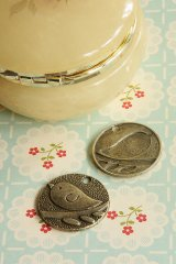 SALE - Antique Style Bronze Charms - Round Plate One Bird
