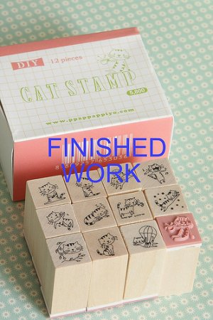 Photo2: DIY Kawaii Wooden Stamps Set - Cat Pink