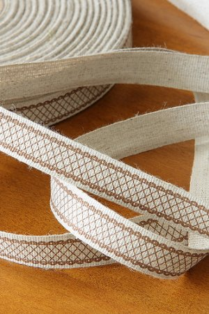 Photo1: Linen Cotton Blended Ribbon - Brown Lace Pattern (1 yard)