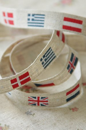 Photo1: Linen Cotton Blended Ribbon - National Flags (1 yard)