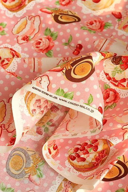japanese kawaii cotton fabric - afternoon tea