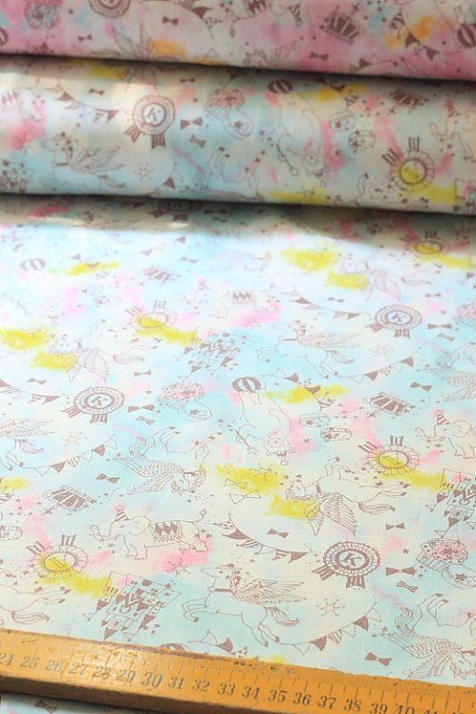 japanese kawaii cotton double gauze fabric - space